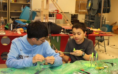 Augustin Liu and  Tyler Edwards are make bottle rockets in preparation for States.
