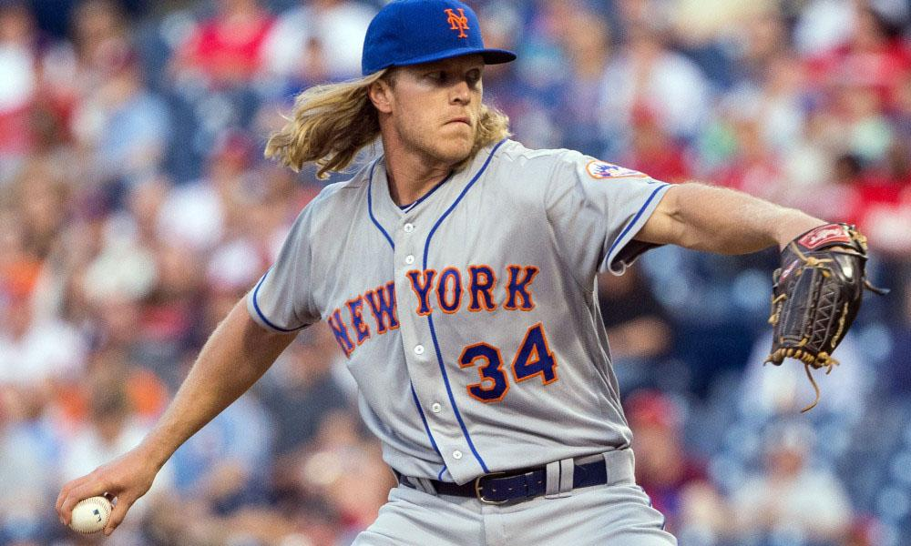 Apr 18, 2016; Philadelphia, PA, USA; New York Mets starting pitcher Noah Syndergaard (34) pitches during the first inning against the Philadelphia Phillies at Citizens Bank Park. Mandatory Credit: Bill Streicher-USA TODAY Sports ORG XMIT: USATSI-258628 ORIG FILE ID:  20160418_ajw_sq4_022.jpg