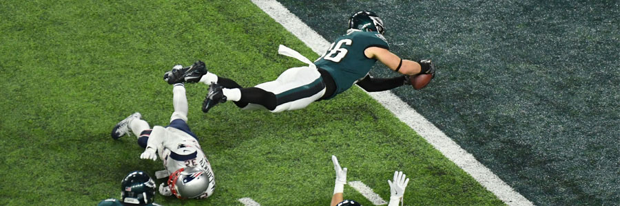 Philly gets its ring. Zach Ertz (86) scores a game-winning touchdown to win the Super Bowl for the Eagles.