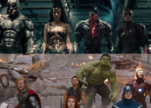 Above, DC's Justice League and left, Marvel's Avengers. Both franchises battling non-human creatures to save the world and earn your money.
