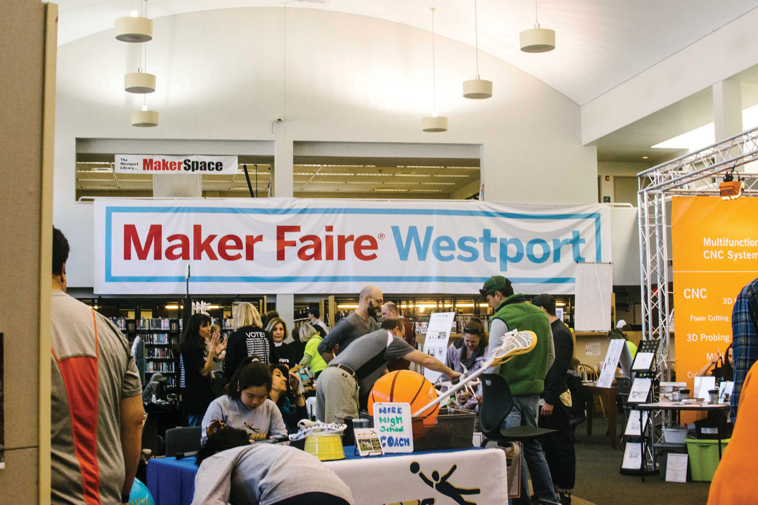Thousands attended the  Maker Faire, held each year at the Westport Public Library and the Jesup Green area.