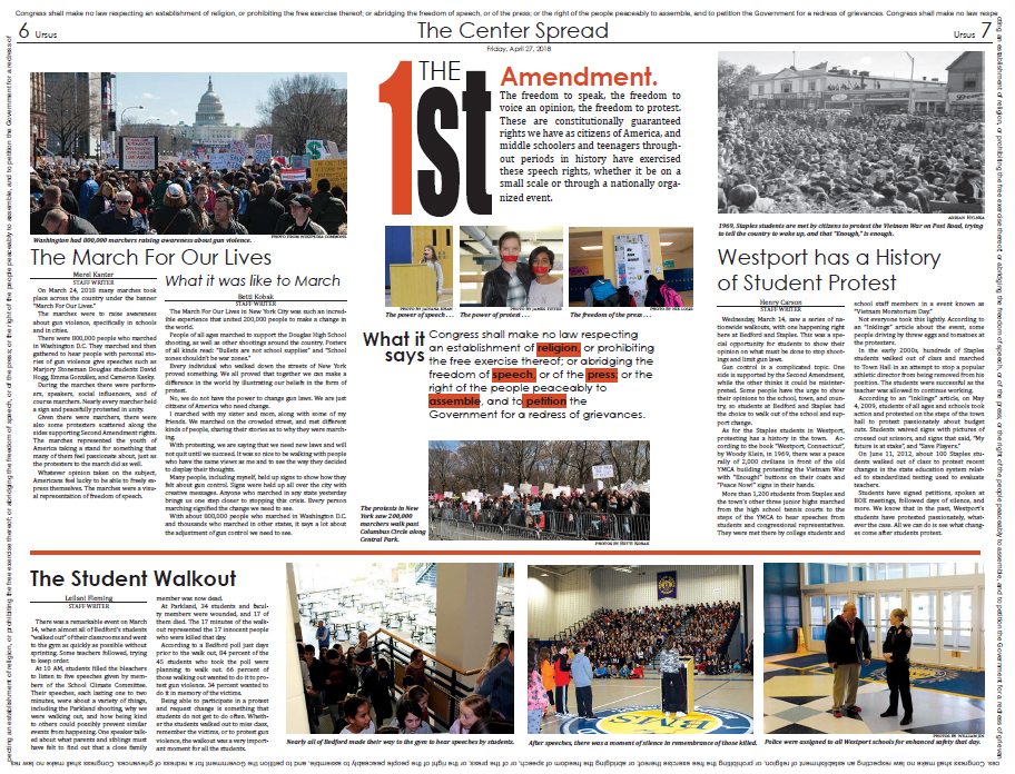 The Center Spread on the First Amendment as it appeared in the April 27th paper