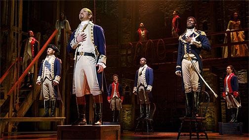 "The cast of 'Hamilton' performing""Yorktown."""