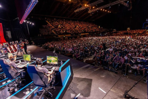 Esports teams in Connecticut may not play in front of crowds this large, but electronic gaming is developing a huge fan base, This is a photo from a Lueague of Legends competition.