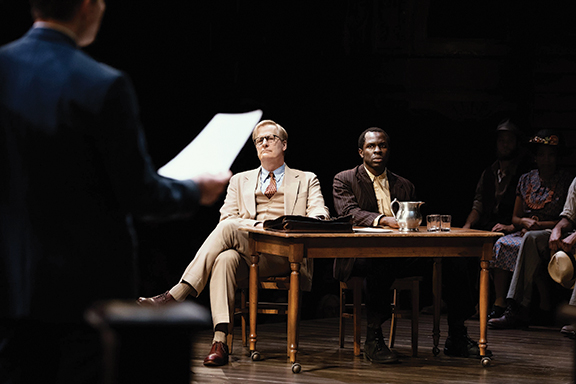 Actor Jeff Daniels as Atticus Finch and Gbenga Akinnagbe as Tom Robinson in the famous trial scene of To Kill a Mockingbird.