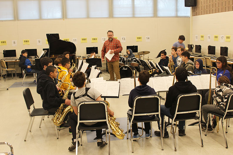 Bedford Middle School jazz band practices Tuesday mornings in the band room. They have been invited to perform at the WSCU Festival on March 20.