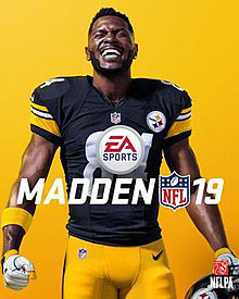Antonio Brown, a professional football player now released from his team, appears on the cover of Madden 19 in his Pittsburgh Steelers uniform.