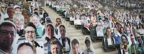 Bundesliga club Borussia Mönchengladbach placed pictures of fans in seats before Saturday