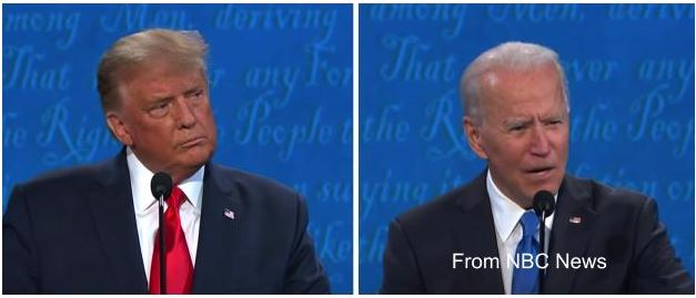 Presidential+candidates+Donald+Trump+and+Joe+Biden+go+head+to+head+in+the+final+debate+leading+up+to+the+election+on+November+3%2C+2020.