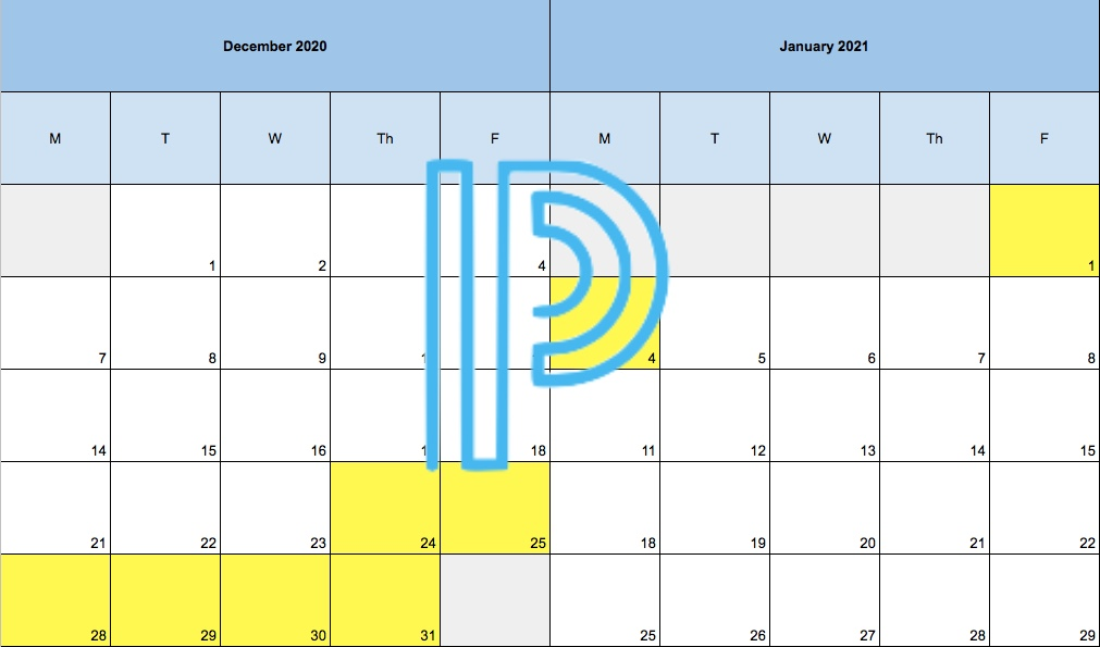 Over winter break (highlighted here in yellow), Powerschool will be frozen so that students can get new encore class groupings.