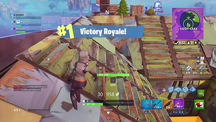 A player wins a game of Fortnite.